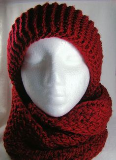 This set looks so warm and cozy! Deep Red Knitted Hat and Scarf Set by ShaunnaMichelle on Etsy