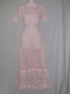 Edwardian Pink Cotton Embroidered Eyelet Tea / Lawn Dress SM | eBay