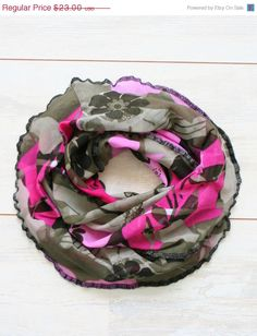 SALE 15 OFF Floral mesh scarf in khaki green and by LilacCadillac, $19.55