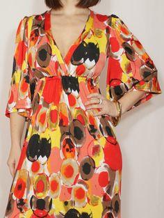 Kimono dress Long red dress Maxi dress Women Circles by dresslike