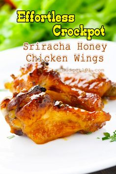 Sriracha Honey Chicken Wings- Imagine wings caramelized in a sweet and spicy sauce, so tender the meat falls right off the bone, Stop Imagining! They're here and they practically cook themselves. . (click on photo for recipe)