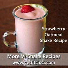 Vi-Shape Shake Mix  1/2 frozen banana (cut up)  4 frozen strawberries  1/4 cup Old Fa
