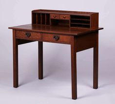 447. Gustav Stickley Postcard Desk. Unsigned. Refinished. 38″w x 36″h x 23″d SOLD