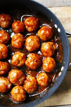 Baked Sriracha Turkey Meatballs - Turkey meatballs are baked and smothered in a Sriracha glaze.