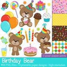 Birthday Bear Clip art and Digital paper set by pixelpaperprints, $6.00