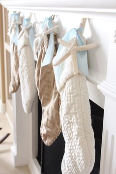 Add a seaside element to Christmas. Place a white finger starfish on the stocking for instant beach style. http://www.seasideinspired.com/0104-white-finger-starfish.htm