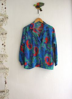 Blue abstract Paisley top. Bold bright shirt. by SwanDiveVintage