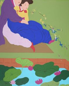 """Visionary Garden It looks traditional love of man and woman  Spring breeze, 162x130cm, Acrylic on Canvas, 2013 by KIM YANG-HEE, South Korea's famous painter Korea's unique gallery """"art"""""""