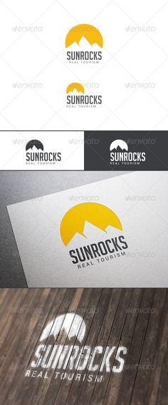 Travel Tourism Logo  Sun Over Rocks — Photoshop PSD #travel #sunset • Available here → https://graphicriver.net/item/travel-tourism-logo-sun-over-rocks/8018809?ref=pxcr