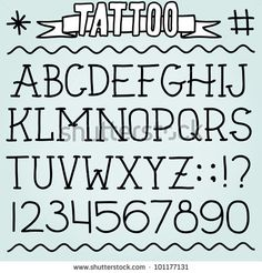Old school tattoo alphabet and numbers
