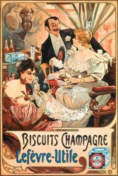 Alphonse Mucha - Poster advertising ''Lefevre-Utile'' champagne biscuits