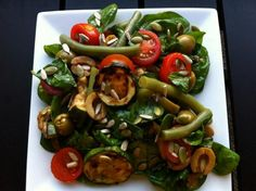 Spinach, tomato, French beans, olive, grilled courgette and pumpkin & sunflower seeds from Yvonne Sunflower Seeds, Caprese Salad, Superfoods, Spinach, Competition, Grilling, Salads, Clean Eating, Salad