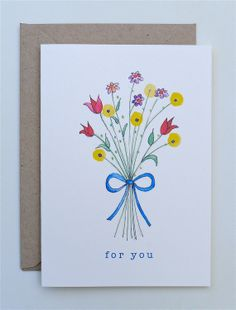 Watercolor Birthday Cards, Watercolor Cards, Hand Drawn Cards, Mom Cards, Card Drawing, Paint Cards, Beautiful Handmade Cards, Arte Floral, Card Sketches