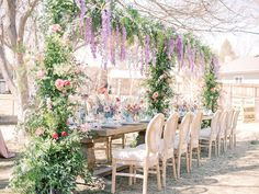 This Bridgerton inspired baby shower kept us on our toes with every frame from the rose shaped napkins to the floral canopy of wisteria hanging over the dinner table! Luxe Wedding, Wedding Trends, Wedding Designs, Cream Cushions, Dining Chair Cushions, Dining Chairs, Gold Palette, Multicultural Wedding, Wedding Reception Decorations