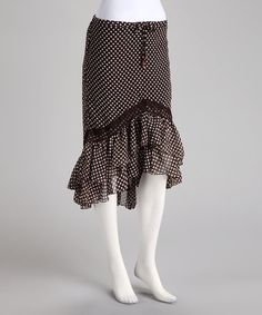 Take a look at this Brown Polka Dot Hi-Low Skirt by BOLD & BEAUTIFUL on #zulily today!    MY MOM BOUGHT ME A SKIRT LIKE THIS, DIFF PATTERN. BUT SO COMFY. I DO LIKE THIS ONE ALOT TO)...$12.99