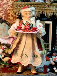 Claus Santa Christmas Miniature Miniature Doll by LoreleiBlu Miniature Christmas, Santa Christmas, Christmas Morning, Christmas Colors, Christmas And New Year, Christmas Themes, Christmas 2015, Vintage Holiday, Holiday Fun