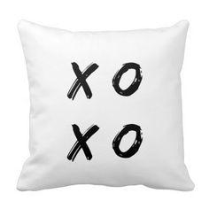 XoXo Teen Pillow - Black and white hugs and kisses throw pillow #blackandwhitepillows #valentinepillows #lovepillows #zazzle