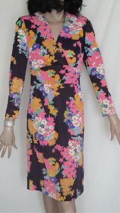 Slinky 60's Mod Vintage Polyester Floral Print Dress Metal Zipper B36 Size 12 | eBay