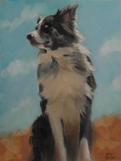 "Daily Paintworks - ""Conejos - Australian Shepherd"" - Original Fine Art for Sale - © Robin Wellner"