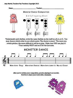Monster B A G Composition can be used for piano students as well...who can't resist a cute silly monster?
