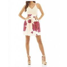 https://stylovesukienki.pl/ Modna #sukienka rozkloszowana w kwiaty 2 w 1 z szyfonowym topem na ramiączkach #shop #dress
