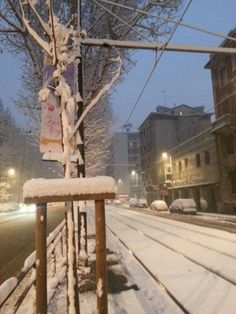 Today in #Milan Snow Night, Milano, Bella, Winter Wonderland, Ladder Decor, Beautiful, Snow, Italy