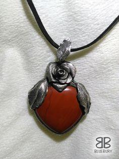 Jaspisové srdce - cínovaný šperk - broušený jaspis