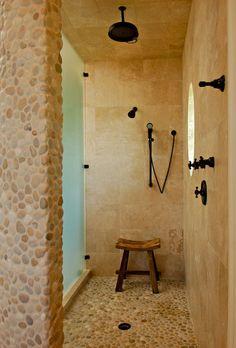 Pebble texture and stone Master Shower tropical bathroom- love the pebble floor Pebble Tile Shower Floor, Stone Shower, Pebble Tiles, Rock Shower, Pebble Stone, Rock Tile, Travertine Tile, Slate Stone, Mosaic Tiles