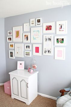 Home Office Makeover Reveal craft room makeover, love the color of the walls and the gallery wall Feminine Home Offices, Room Decor, Wall Decor, Woman Cave, Office Makeover, Inspiration Wall, Home Organization, Organizing, Home And Living
