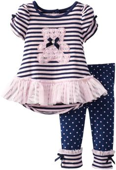 Young Hearts Baby-Girls Infant 2 Piece Stripped Bear Polka Dot Shirt And Pant: Clothing