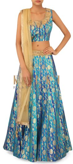 Blue lehenga adorn in batik print and zardosi only on Kalki