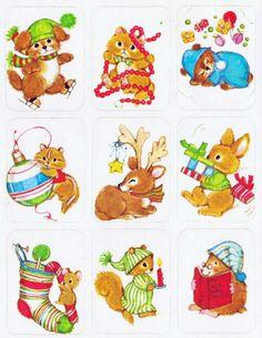 Vintage Eureka Christmas animal stickers