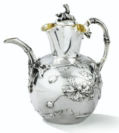 A BELGIAN SILVER TEAPOT, WOLFERS, BRUSSELS, CIRCA 1900 Bronze, Vintage Silver, Antique Silver, Gorham Silver, Silver Teapot, Teapots And Cups, Tea Art, Tea Service, Chocolate Pots
