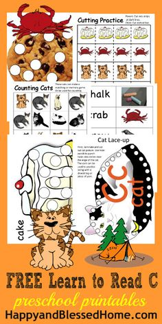 Letter C: Over 1,300 Pages of FREE printables and 800 Activities for teaching preschoolers and kindergarteners how to read with coloring, matching, games, crafts and activities from HappyandBlessedHome.com  | teaching preschool | homeschool preschool | education worksheets | alphabet printables | homeschool education | learning the alphabet