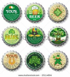 St. Patrick's Day bottle caps- vector buttons.
