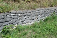 concrete sack wall | yard | Pinterest