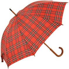 Tartan Walking Length Umbrellas - Red (as Royal Stewart) - Brolliesgalore