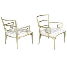 Pair of Brass Armchairs with Greek Key by Mastercraft