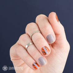 New Jamberry Nail Wraps- Bamboo Shoots with Dove Grey (a solid color wrap). Emily Nelson-Jamberry Independent Consultant