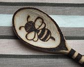 Hand-made custom pyrography wooden spoon with bumble bee and flower