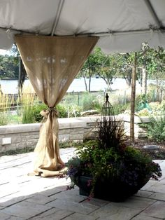 Corner Burlap Drapes for Tent Outdoor Wedding Ceremony Laura & Adam Tent Decorations, Wedding Ceremony Decorations, Wedding Ideas, Wedding Stuff, Diy Tent, Canopy Tent, Burlap Drapes, Marquee Wedding, Camo Wedding