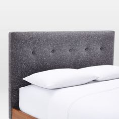 Check out the Mid-Century Button Tufted Bed - Salt + Pepper Tweed in from West Elm for Tufted Storage Bench, Tufted Bench, Upholstered Platform Bed, Spool Bed, Tufted Bed Frame, Queen Size Platform Bed, Tall Bed, Leather Bed, Mattress Springs