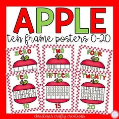 These apple ten frames are very colorful and look great on the way! Includes numbers 0-20. If Interested: Watermelon Ten Frames Word Wall Letters
