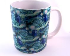 Doctor Who Inspired Starry Night Mug, 11 oz White Ceramic Coffee or Tea Cup.  via Etsy.