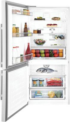 Blomberg BRFB18 30 Inch Counter Depth Bottom Freezer Refrigerator with 17.8 cu. ft. Capacity, 2 Glass Shelves, Wine Rack, Blue Light Crisper Drawer, Tall Bottle Door Bins, 3 Interior Freezer Drawers and Energy Star Rated