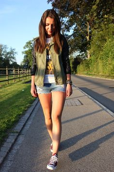 army jacket + tee shirt + denim shorts + cons = best weekend look ever