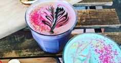 The colourful new drink was created by a small Brooklyn cafe. And despite being called a latte, the psychedelic-looking drink is actually caffeine free. Apparently the is all about wellness and is made with ginger, … Vegan Chocolate Mousse, Hot Chocolate, Bowls, Coffee Latte Art, Coffee Barista, Coffee Shop, Unicorn Foods, Unicorn Pics, Unicorn Cafe