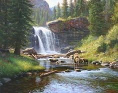 Moment of Reflection by Mark Keathley kK Watercolor Landscape, Landscape Art, Landscape Paintings, Waterfall Paintings, Beautiful Waterfalls, Mountain Landscape, Wildlife Art, Western Art, Pictures To Paint