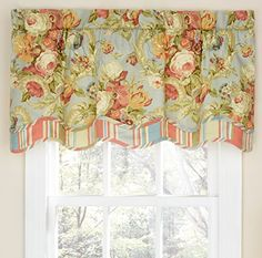 Swap out your window treatments for something new and modern with the Spring Bling Room Darkening Window Valance from Waverly. The charming floral and scroll print motif gives your home a refreshed look. Can be hung via the rod pocket or back tabs. Small Window Curtains, Bathroom Window Curtains, Short Curtains, Small Windows, Drapes Curtains, Curtain Panels, Waverly Valances, Decorative Curtain Rods, Living Room