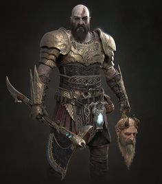 Definitely my favorite characther, kudos to all the people who worked on God of War! If you like it, here there' s the set of Metals Smart Material that I created for this project; Fantasy Armor, Fantasy Weapons, Armadura Viking, Character Concept, Character Art, Fullhd Wallpapers, Kratos God Of War, Weapon Concept Art, Medieval Armor